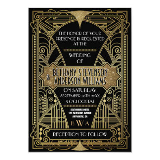 Carte Art déco vintage de noir et d'or épousant des
