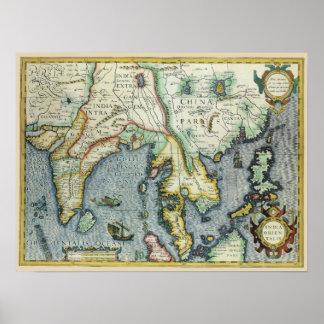 Carte asiatique antique du 17ème siècle, posters