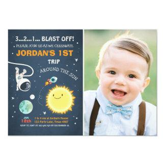 Carte Astronaute de Rocket d'invitation d'anniversaire