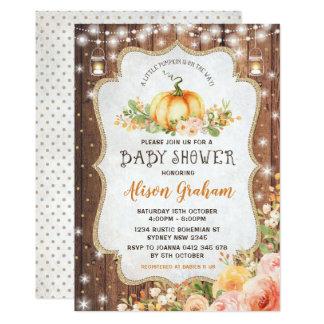 Carte Automne d'invitation de baby shower de citrouille