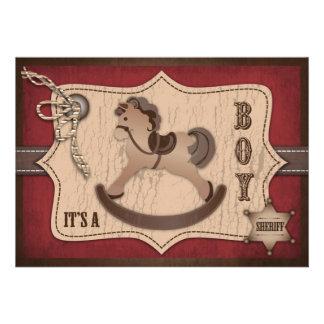 Carte B d invitation de bébé de cowboy
