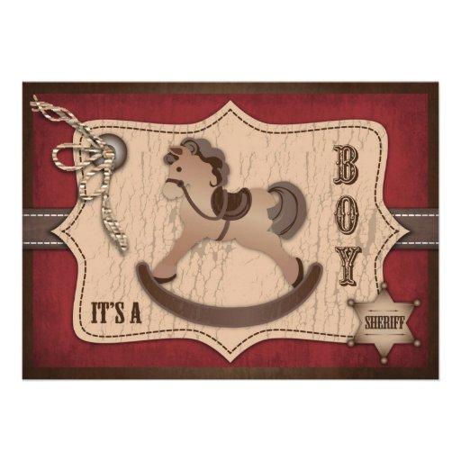 Carte B d'invitation de bébé de cowboy