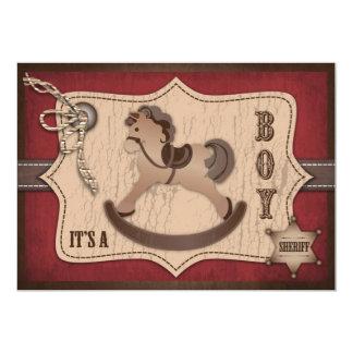 Carte B d'invitation de bébé de cowboy Carton D'invitation 12,7 Cm X 17,78 Cm