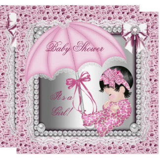 Carte Baby shower blanc assez rose de fille