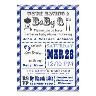 Carte Baby shower bleu de BaByQ de barbecue