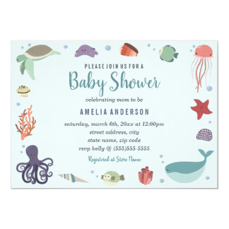 Carte Baby shower bleu de corail de créatures douces de