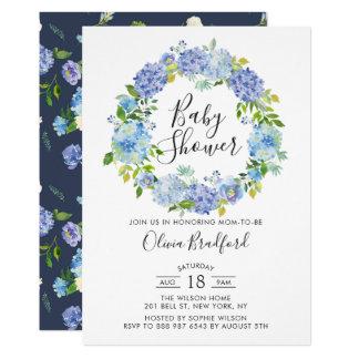 Carte Baby shower bleu de guirlande d'hortensias