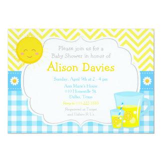 Carte Baby shower bleu et jaune de soleil et de limonade