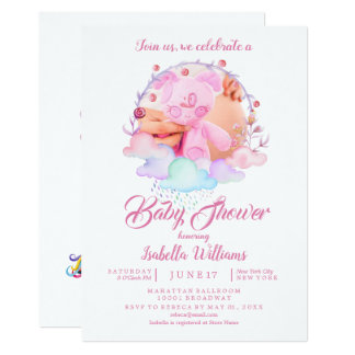 Carte Baby shower chic moderne de fille d'aquarelle de