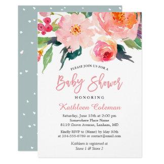 Carte Baby shower chic moderne floral d'aquarelle
