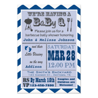 Carte Baby shower de BaByQ de barbecue de marine