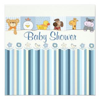 Carte Baby shower de bleu d'animaux et de rayures de