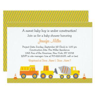 Carte Baby shower de camion de construction