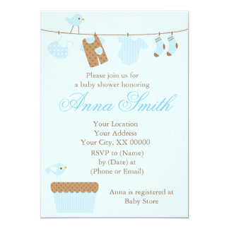 Carte Baby shower de corde à linge de bébé bleu