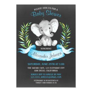 Carte Baby shower de garçon d'éléphant d'aquarelle de