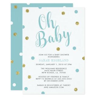 Carte Baby shower de parties scintillantes de bleu et