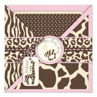 Carte Baby shower de rose de safari de girafe