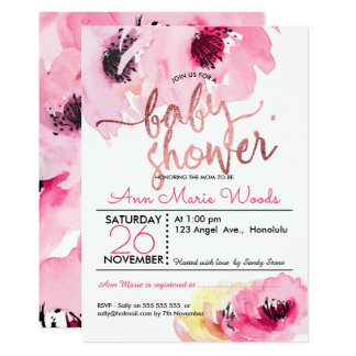 Carte Baby shower de roses de rose d'aquarelle de