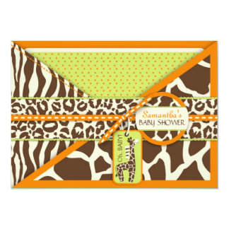 Carte Baby shower de safari de girafe