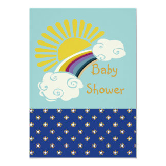 Carte Baby shower de soleil et d'arc-en-ciel