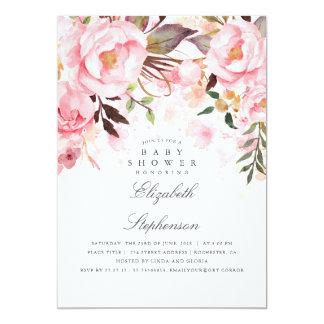 Carte Baby shower élégant et moderne floral rose