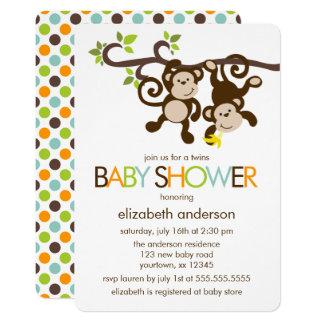 Carte Baby shower espiègle de jumeaux de singes