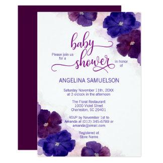 Carte BABY SHOWER floral bleu de prune pourpre
