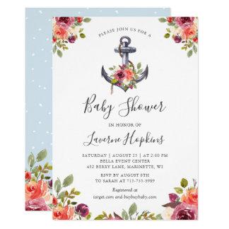 Carte Baby shower floral de garçon d'ancre nautique