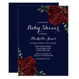 Carte Baby shower floral de marine romantique et de rose