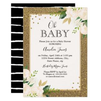 Carte Baby shower floral de noir d'or de parties