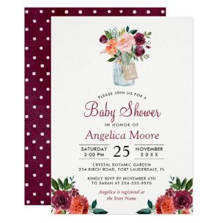 Carte Baby shower floral de pois de pot de maçon de