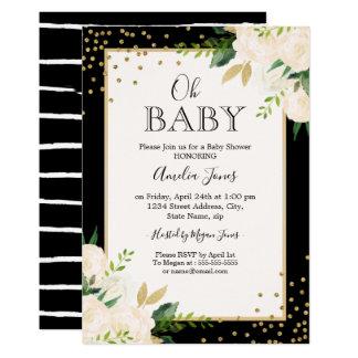 Carte Baby shower floral de rayures de noir d'or de