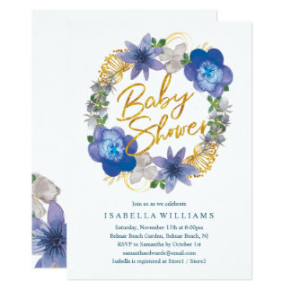 Carte Baby shower floral d'hortensias d'or blanc