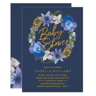 Carte Baby shower floral d'hortensias d'or de bleu
