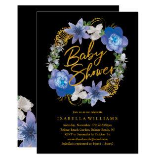 Carte Baby shower floral d'hortensias noirs d'or