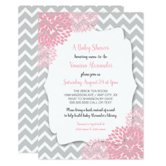 Carte Baby shower floral gris rose + mots de demande de
