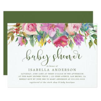 Carte Baby shower floral moderne d'aquarelle de la