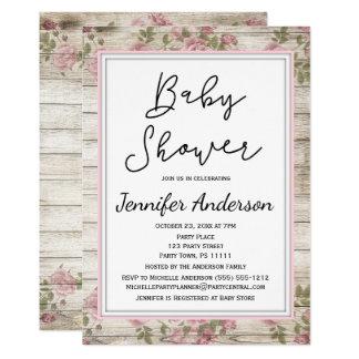 Carte Baby shower floral rose en bois rustique