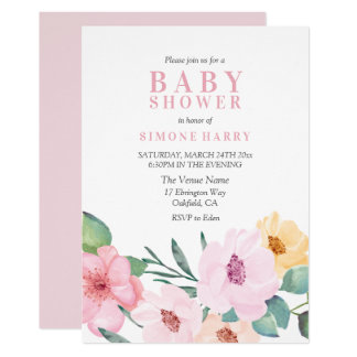Carte Baby shower floral rose moderne élégant
