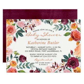 Carte Baby shower floral rose orange de Bourgogne