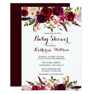 Carte Baby shower floral rustique de Bourgogne Marsala