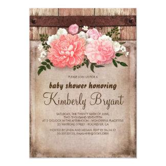 Carte Baby shower floral rustique en bois de grange de