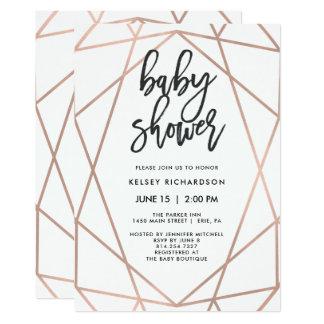 Carte Baby shower géométrique de l'or rose moderne | de
