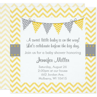 Carte Baby shower jaune de Chevron