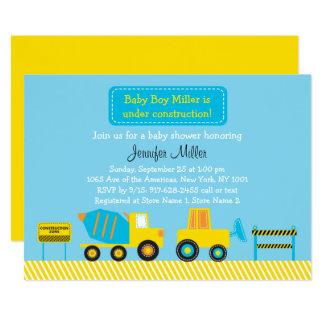 Carte Baby shower mignon de camion de construction