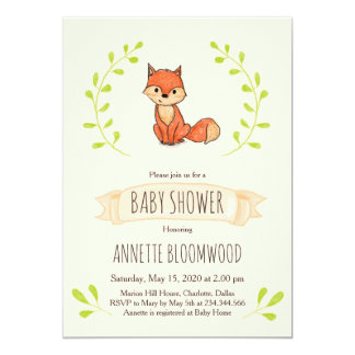 Carte Baby shower mignon de région boisée de Fox