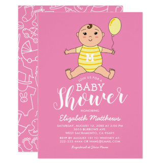 Carte Baby shower mignon jaune rose de fille