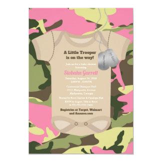 Carte Baby shower militaire de Camo de fille de petite