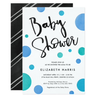 Carte Baby shower moderne bleu lumineux de point de