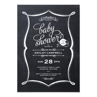 Carte Baby shower moderne de fille de tableau